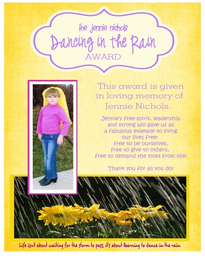 Jennie Nichols dancing in the rain award